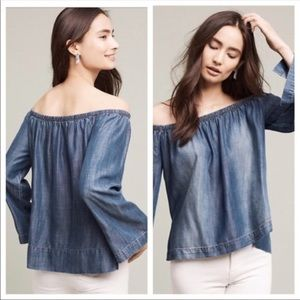 Cloth and Stone Off The Shoulder Chambray …